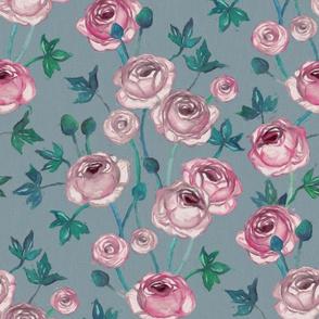 Painted Pink Ranunculus on Soft Grey Blue