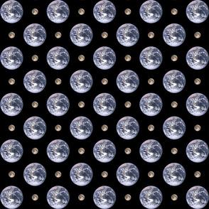 "2"" Earth and 1/2"" Moon polkadot"
