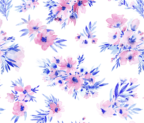 Watercolor Floral In Royal Blue And Dusty Pink Wallpaper