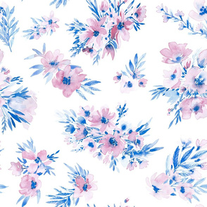 Watercolor floral in royal blue and dusty pink