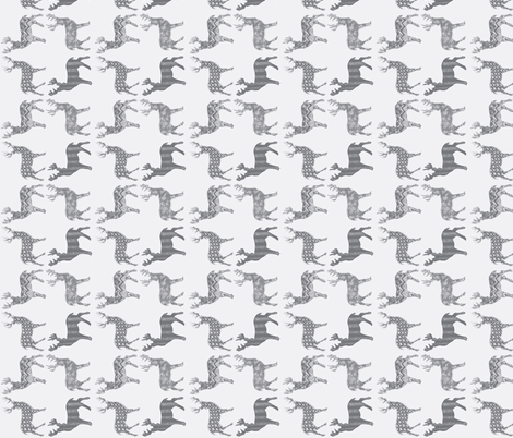 Gray Meadow Deer on White  fabric by kbexquisites on Spoonflower - custom fabric