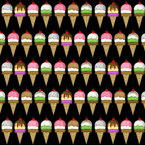 Ice Cream cones  Black  Med