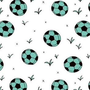 Soccer ball fun sports illustration design grass mint