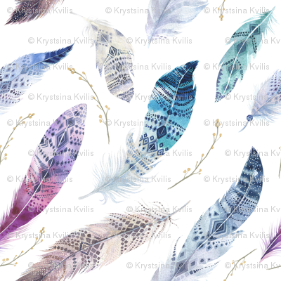 Watercolor feather boho color organic design3