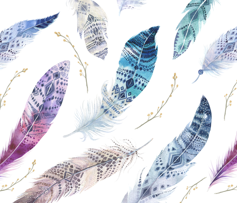 Watercolor feather boho color organic design3 fabric by peace_shop on Spoonflower - custom fabric