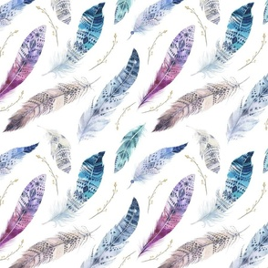 Seamless pattern with bright boho watercolor feathers.