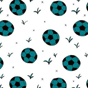 Soccer ball fun sports illustration design grass teal blue