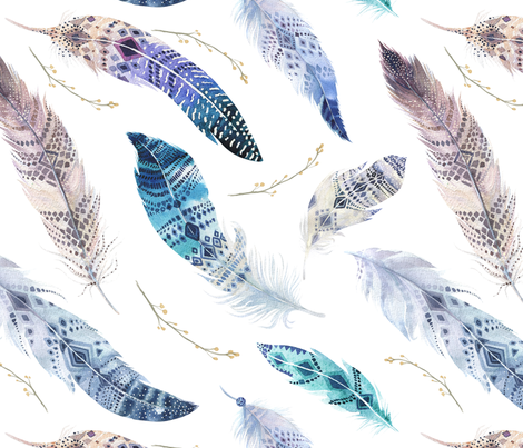 Seamless pattern with bright boho watercolor feathers.  fabric by peace_shop on Spoonflower - custom fabric