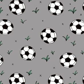 Soccer ball fun sports illustration design grass gray