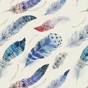 Watercolor feather boho color organic design5