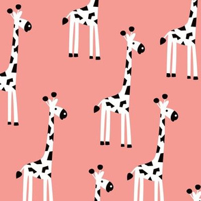 Adorable baby giraffe safari animals for kids winter pink girls