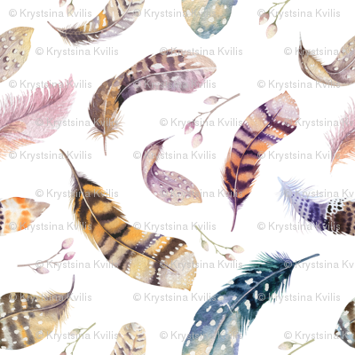 Watercolor feather boho color organic design8