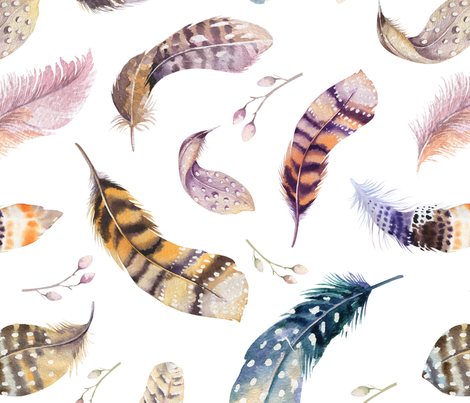 Watercolor feather boho color organic design8 fabric by peace_shop on Spoonflower - custom fabric
