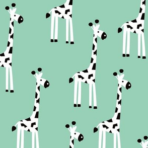 Adorable baby giraffe safari animals for kids winter gender neutral mint