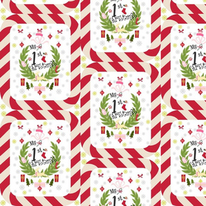 first Christmas PINK candy cane wreath quilt