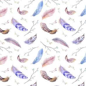 Watercolor feather boho color organic design13