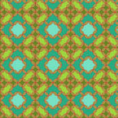 Lavish squares and circles in green, aqua, and red.