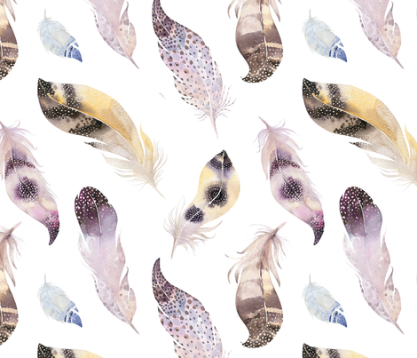 Watercolor feather boho color organic design14 fabric by peace_shop on Spoonflower - custom fabric