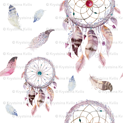 Watercolor dreamcatcher and feathers2