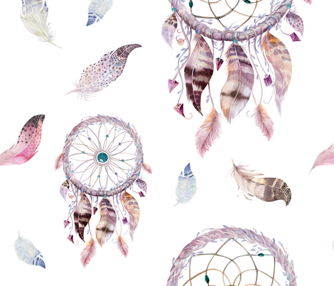 Watercolor dreamcatcher and feathers2 fabric by peace_shop on Spoonflower - custom fabric