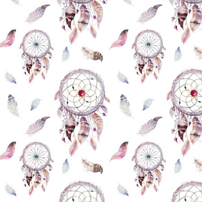 Seamless pattern with dreamcather and bright boho watercolor feathers.