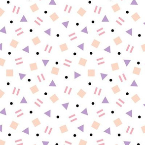 Cool geometric retro confetti memphis style abstract triangles and shapes pastel girls