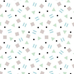 Cool geometric retro confetti memphis style abstract triangles and shapes pastel boys