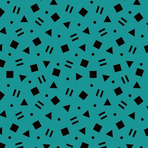 Cool geometric retro confetti memphis style abstract triangles and shapes teal