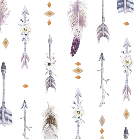 watercolor arrows and feathers fabric peace shop spoonflower
