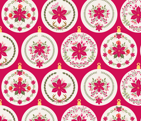 boule_de_noel_poinsettia_rouge_L fabric by nadja_petremand on Spoonflower - custom fabric