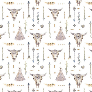 Seamless pattern with bright boho watercolor feathers, arrows, skull and teepee