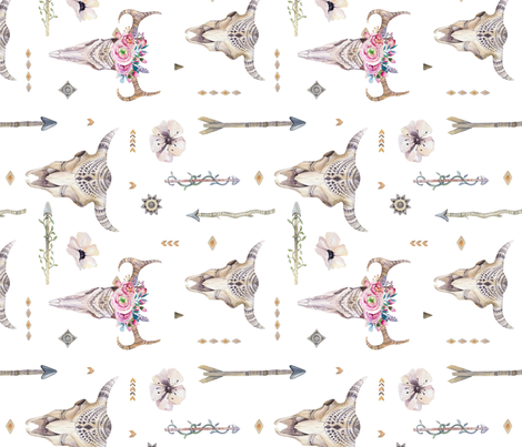 Watercolor skull and arrows2 fabric by peace_shop on Spoonflower - custom fabric