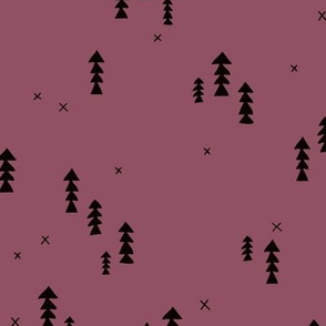 Sweet basic winter wonderland woodland pine trees abstract christmas Scandinavian design maroon purple
