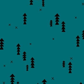 Sweet basic winter wonderland woodland pine trees abstract christmas Scandinavian design teal blue
