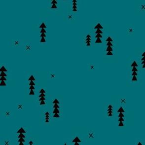 Sweet basic winter wonderland woodland pine trees abstract christmas Scandinavian design teal blue