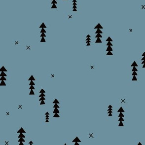 Sweet basic winter wonderland woodland pine trees abstract christmas Scandinavian design ice blue