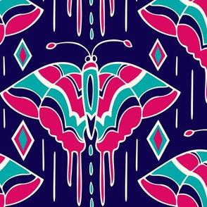 La maison des papillons - Butterflies Navy Blue & Fuchsia
