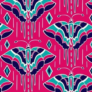 La maison des papillons - Butterflies Fuchsia & Navy Blue