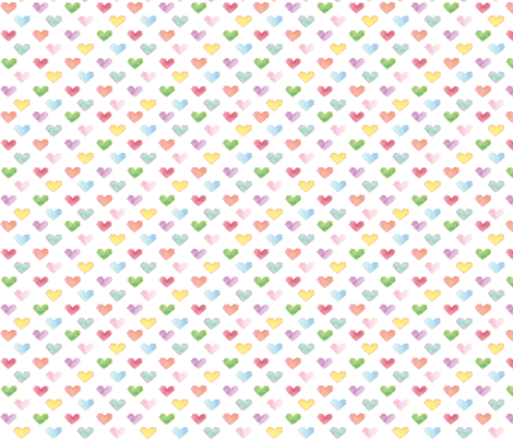 hearts in multi colors, like the rainbow  fabric by marjoleinrooijmans on Spoonflower - custom fabric