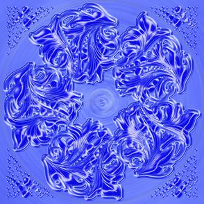 Floral-05 Dress Blue K-01