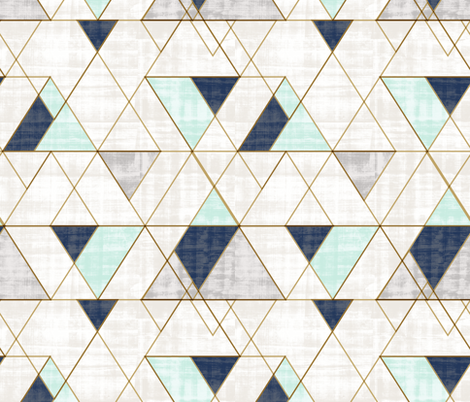 Mod Triangles Vintage Navy Mint fabric by crystal_walen on Spoonflower - custom fabric