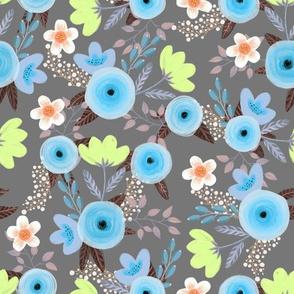 Vintage floral on grey