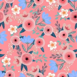Vintage floral on pink
