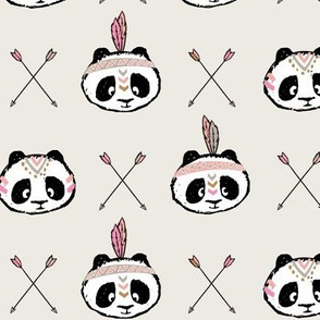 pandas w/ arrow cross (pink)