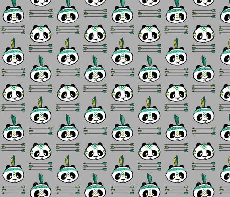 panda w/ arrow stack (dark green) fabric by littlearrowdesign on Spoonflower - custom fabric