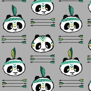 panda w/ arrow stack (dark green)