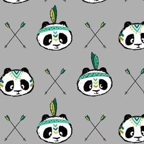 panda w/ arrow cross (dark green) || pandamonium