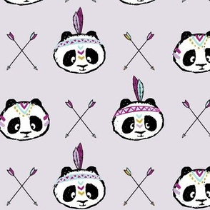 pandas w/ arrow cross (purple)