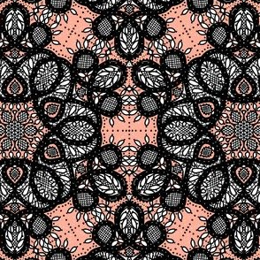 Battenburg lace coral and black