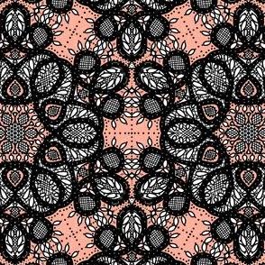 Battenburg lace coral and black